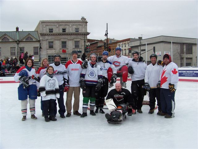 Playing sledge hockey during Feb Fest